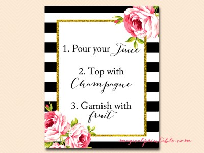 sign-mimosa-bar-instruction black stripes floral bridal shower sign wedding