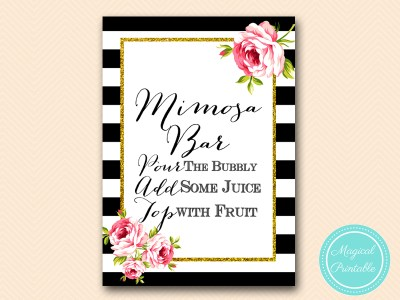 sign-mimosa-bar-sign black stripes floral bridal shower sign wedding