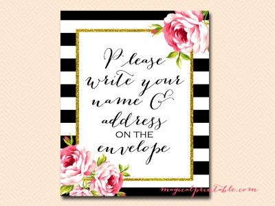 sign-write-name-and-address black stripes floral bridal shower sign wedding