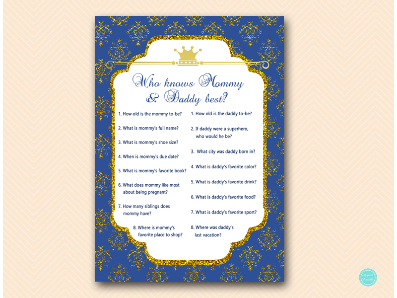 tlc109 who knows mommy and daddy best royal prince baby shower game