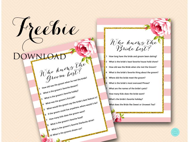 free coed bridal shower games u2013 who knows bride u0026 groom