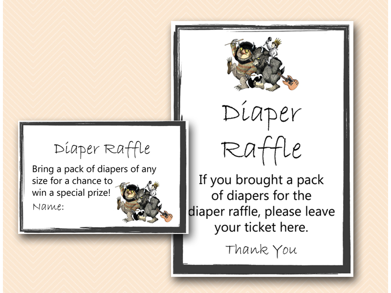 diaper raffle sign king where the wild things are baby shower game