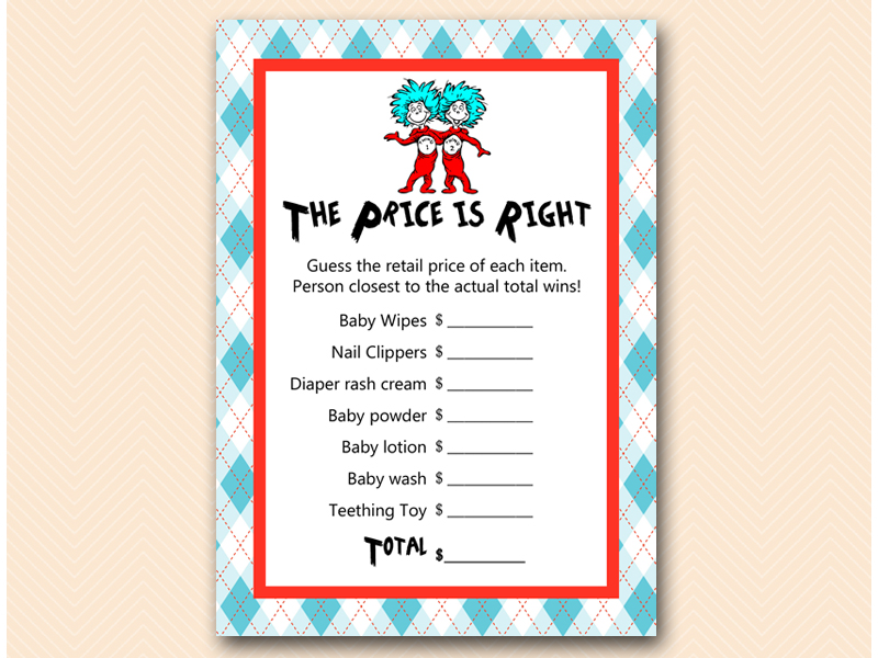 Dr Seuss Thing 1 Thing 2 Baby Shower Games - Magical Printable