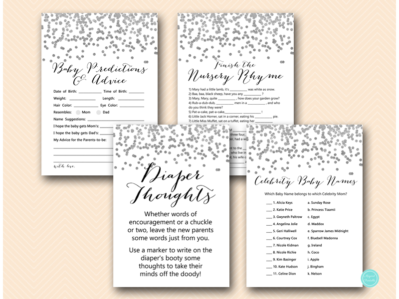 silver baby shower games package printable download tlc149