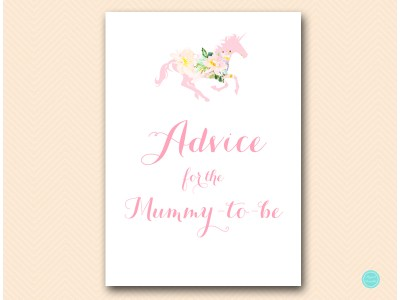 TLC497-advice-for-mummy-to-be-sign-unicorn-carousel-horse-baby-shower