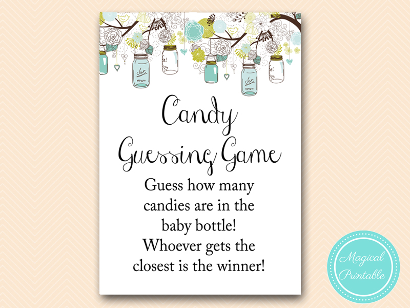 How Many Candy Guessing Game Sign Rustic Teal