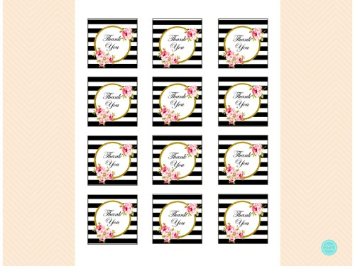 Black Stripes Bridal Shower Favor Tags