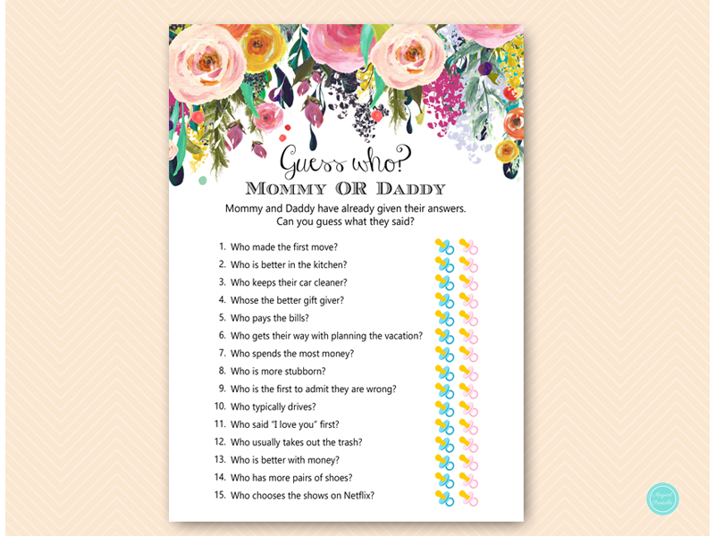 TLC140 Guess Who Mommy Or Daddy Garden Floral