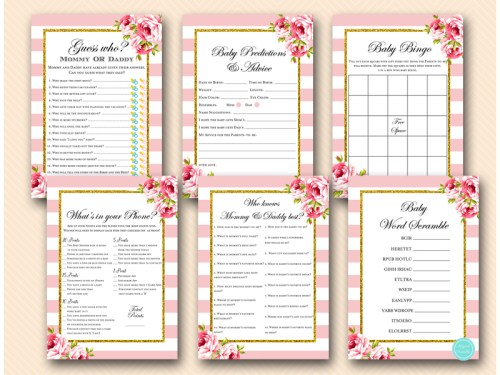 Pink And Gold Coed Baby Shower Games Magical Printable