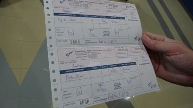 Our tickets to get to Langkawi from Penang