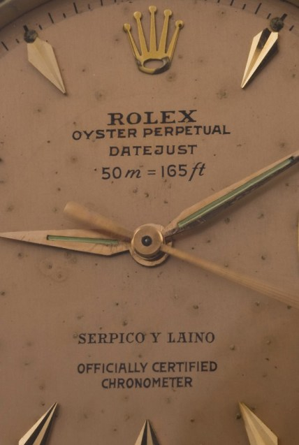 Rolex Thunderbird Ref 6309 with 50M=165ft depth rating & Serpico Y Laino print detail dial