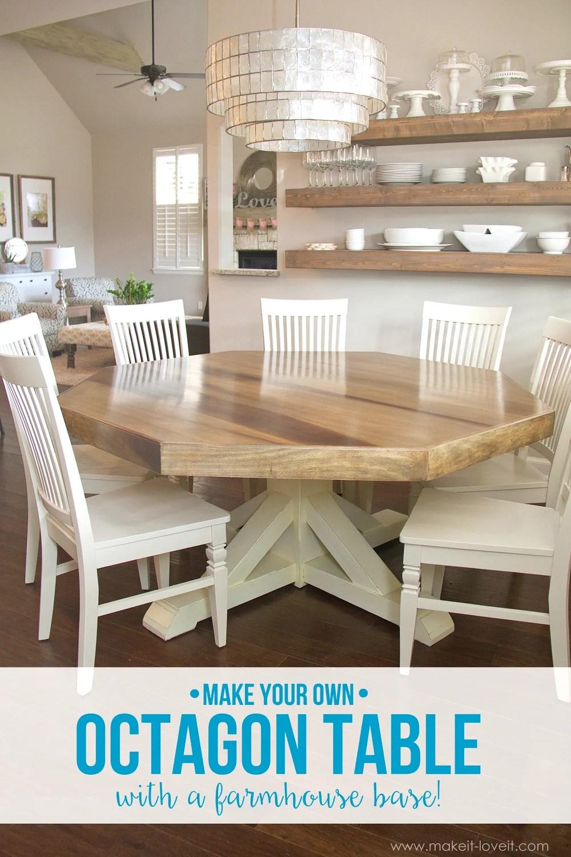 diy octagon dining room table with farmhouse base diy kitchen table plans DIY Octagon Dining Room Table with a farmhouse base Seats 8