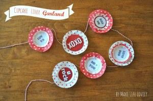 Valentine Cupcake Liner Garland + Free Printable