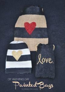 DIY Painted Drawstring Valentine Bags