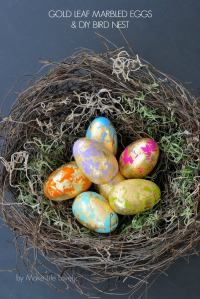 Gold Leaf Marbled Easter Eggs and DIY Bird Nest