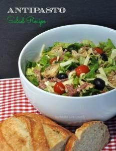 Italian Antipasto Salad, Basil Pesto Dipping Sauce, and Italian Cream Sodas