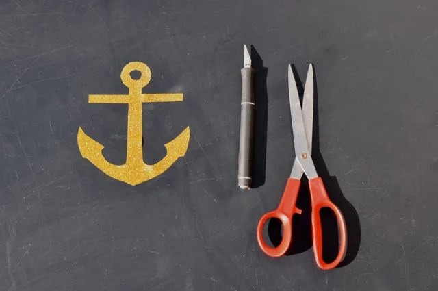 Cut the Gold Anchor from the Iron-On Transfer Sheet