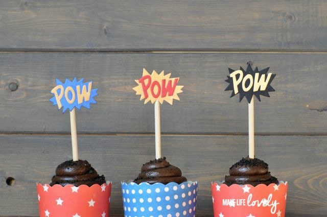 Superhero Party Ideas for Cupcake Toppers