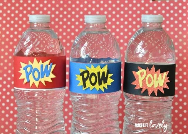 Superhero party ideas bottle wrappers