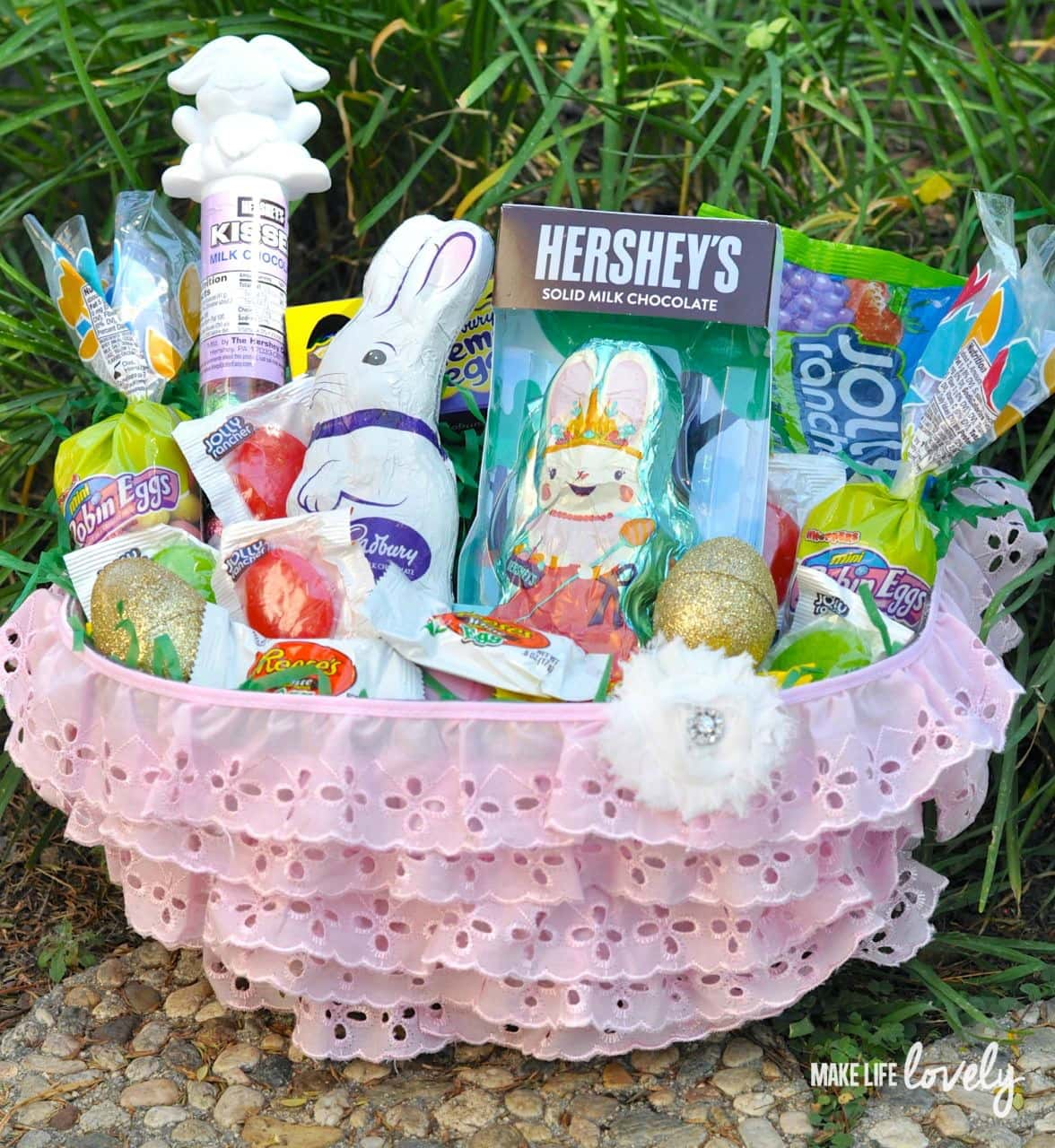 Diy pink ruffle easter basket for girls make life lovely diy easter basket for girls negle Image collections