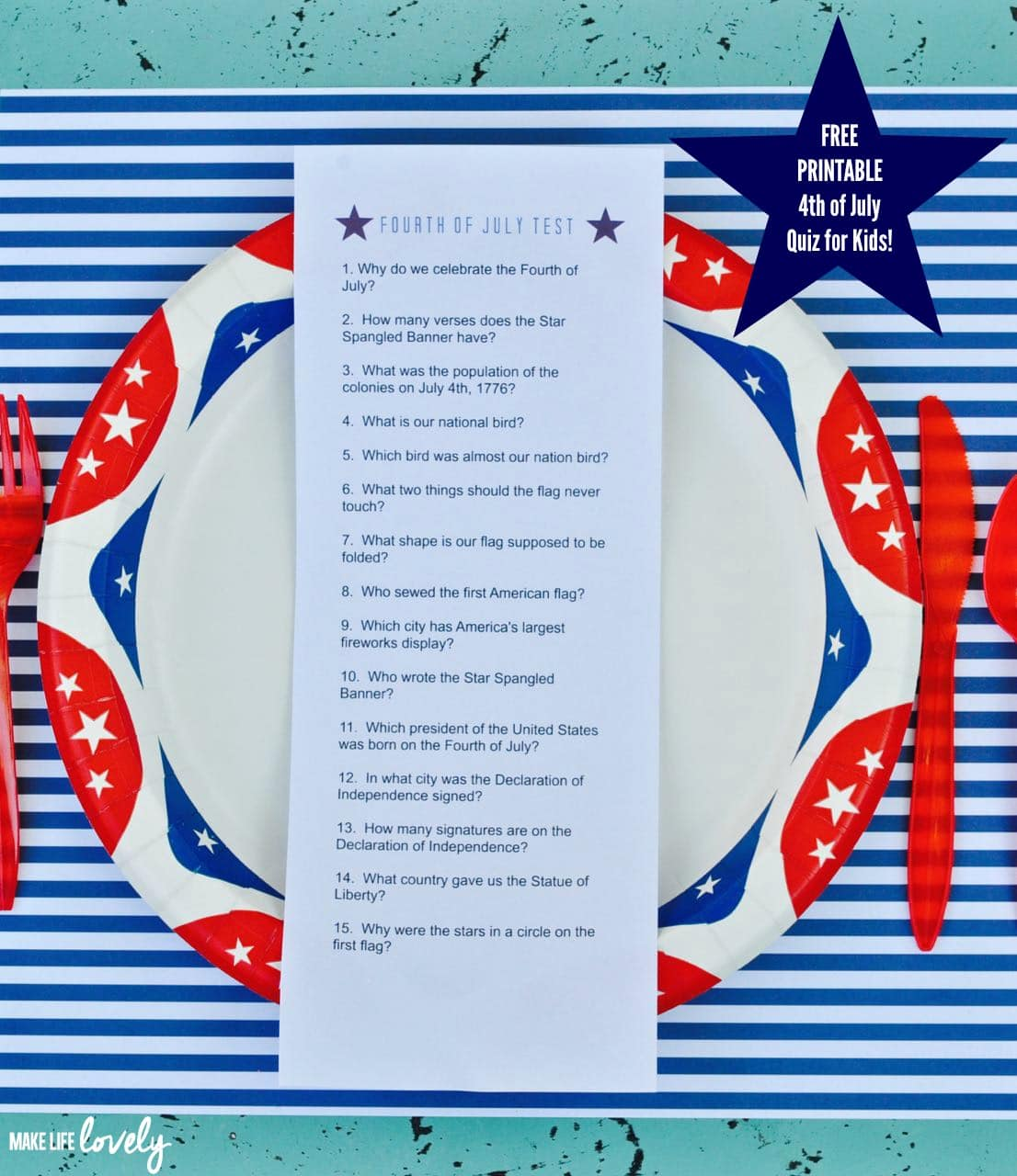 Free Printable Fourth Of July Quiz For Kids  Free Printable Quiz
