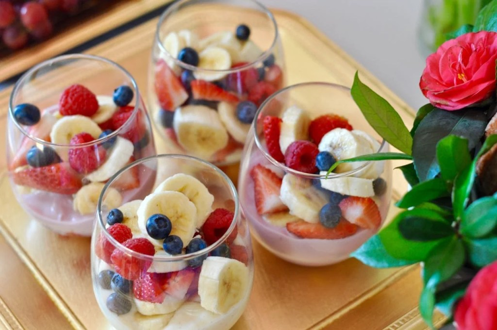 Fruit and yogurt parfaits for a brunch party