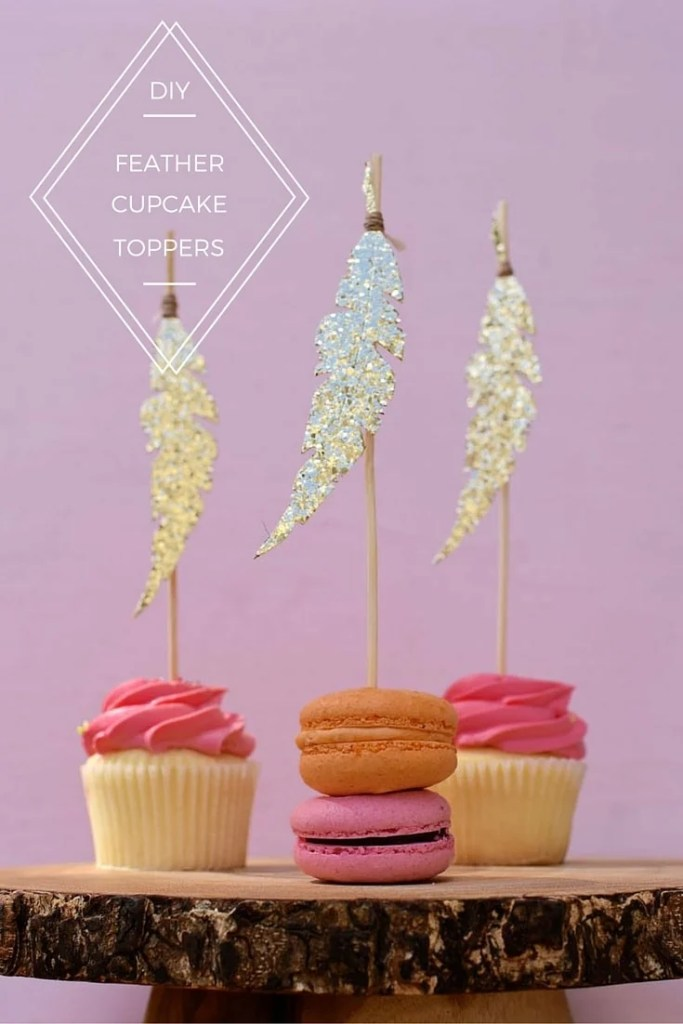 Feather Cupcake Toppers DIY