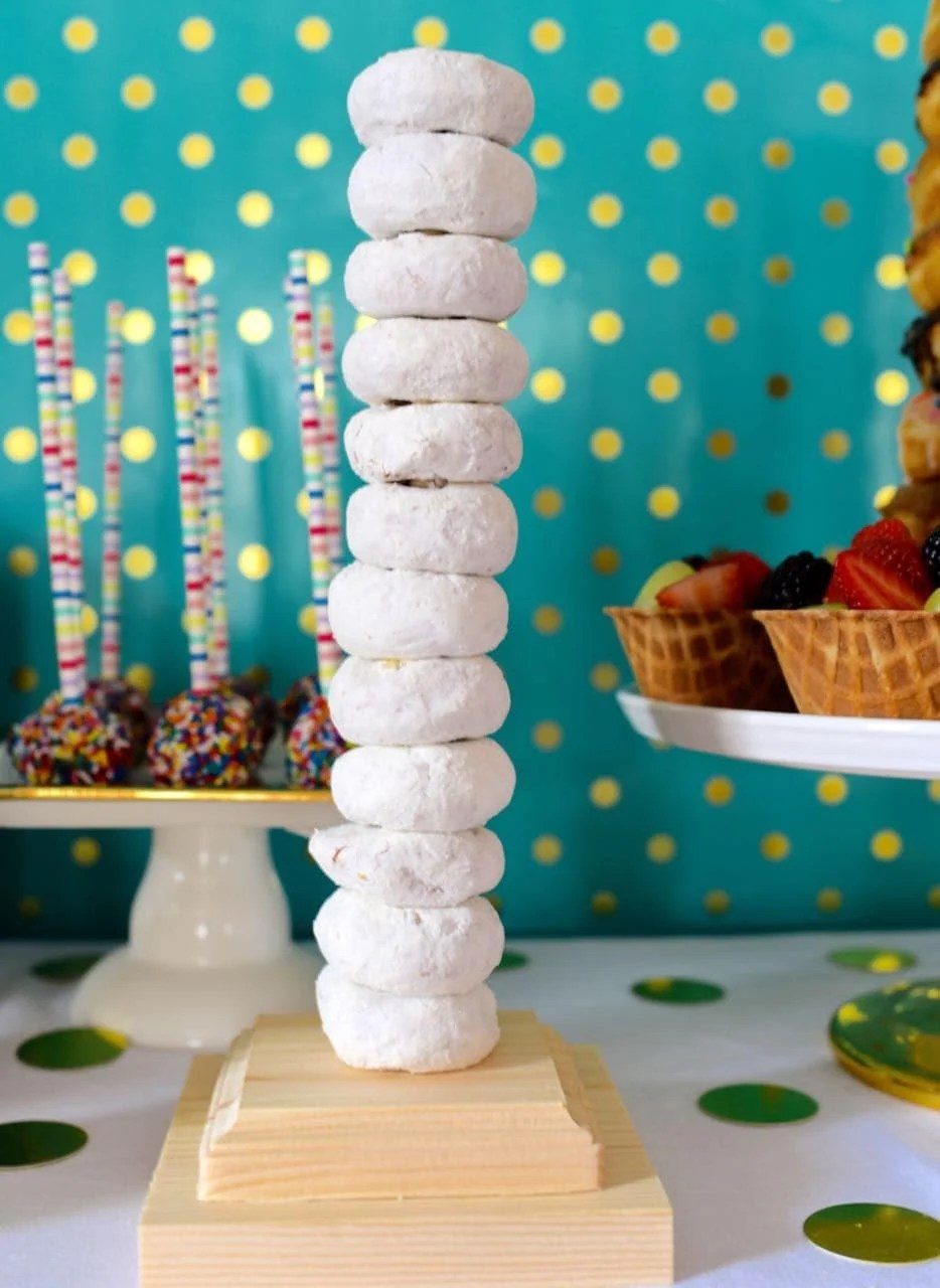 Diy donut stand at a pancakes and pajamas party