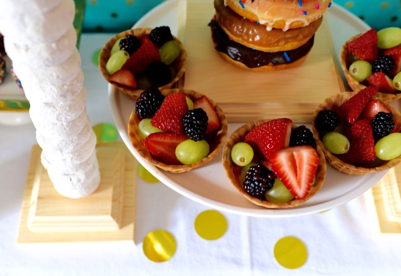 Fruit at pancakes and pajamas party