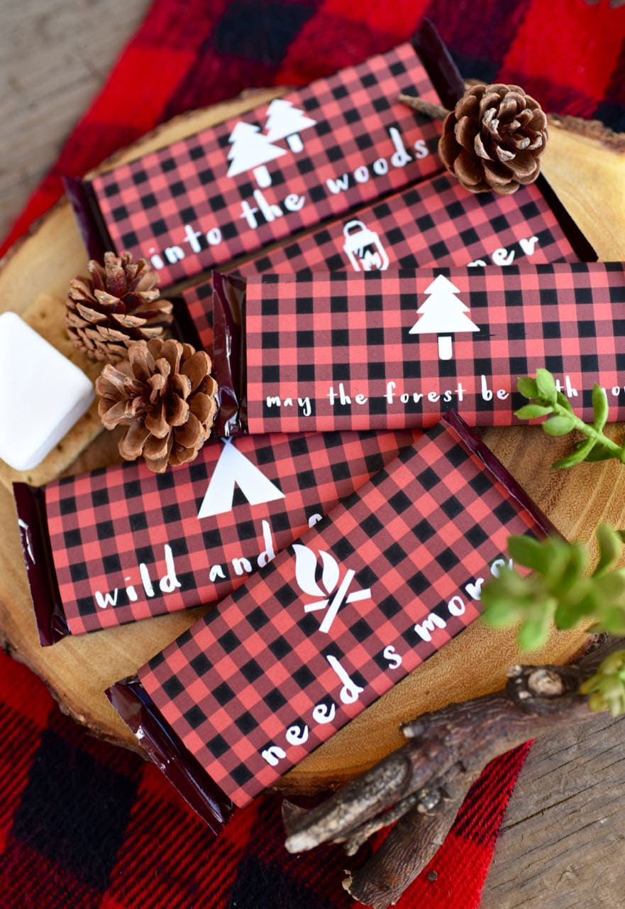 Backyard camping party free chocolate bar wrapper printables