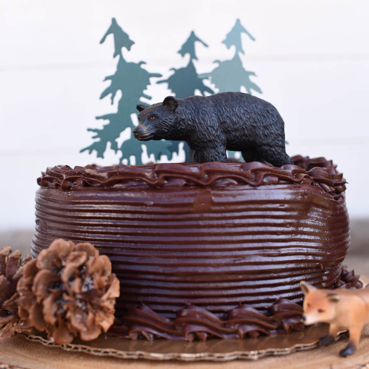 Camping cake for a backyard camping party (using a store-bought cake!)