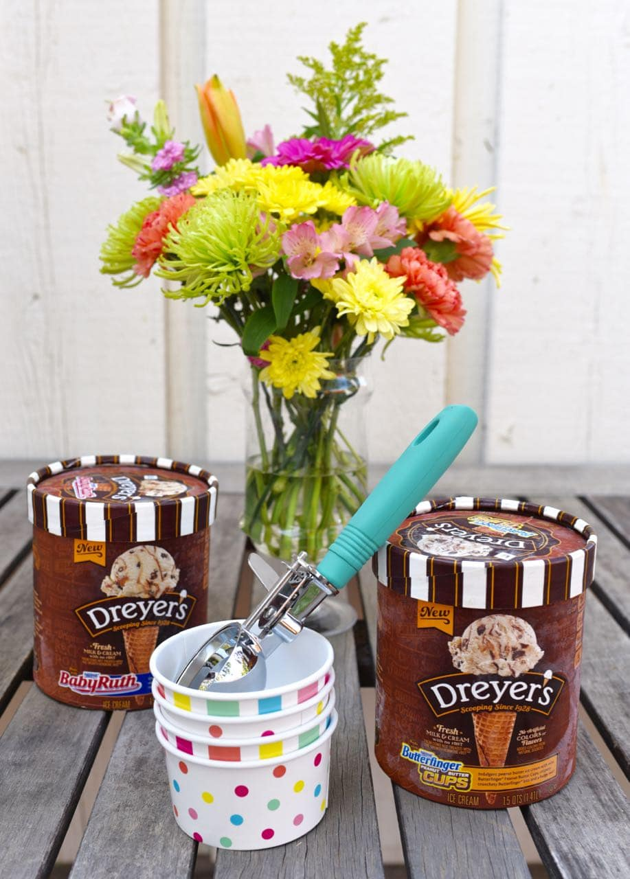 Flower arranging and DREYER'S new candy ice cream