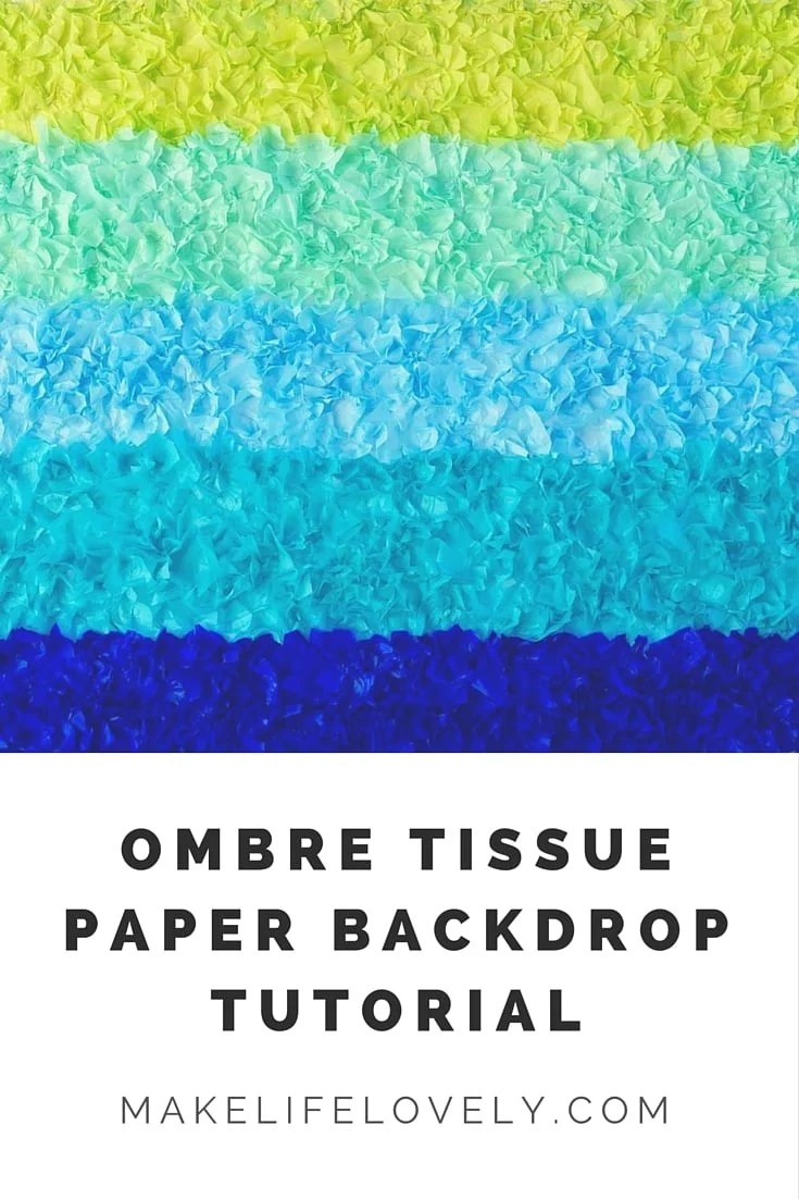 Ombre Tissue Paper Backdrop Tutorial.  Make a gorgeous party table backdrop for just a few dollars!
