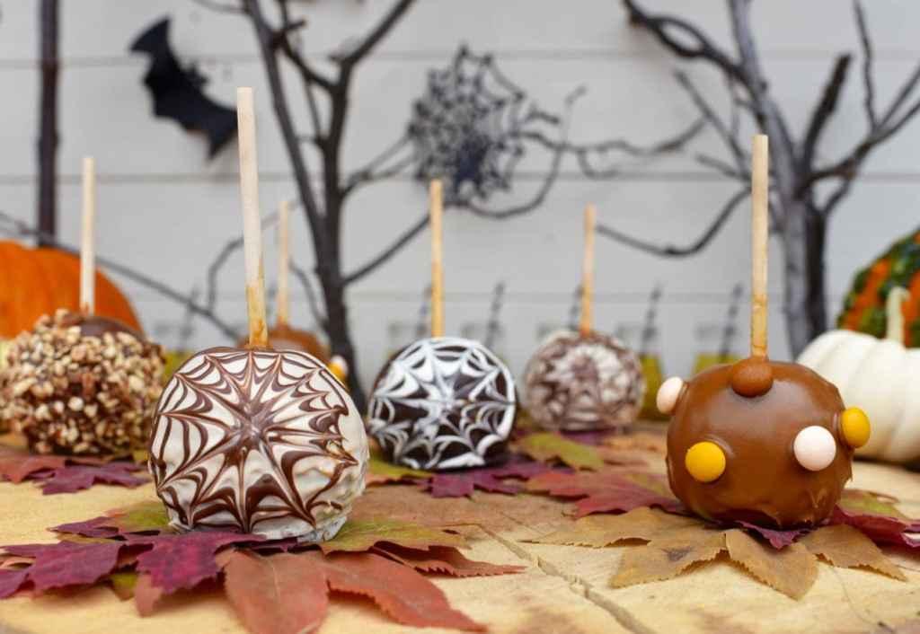 Caramel apples Halloween food at a Halloween party
