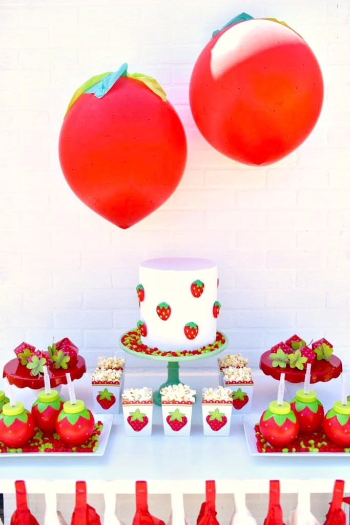 Strawberry party ideas. Cute girls party or summer party idea!