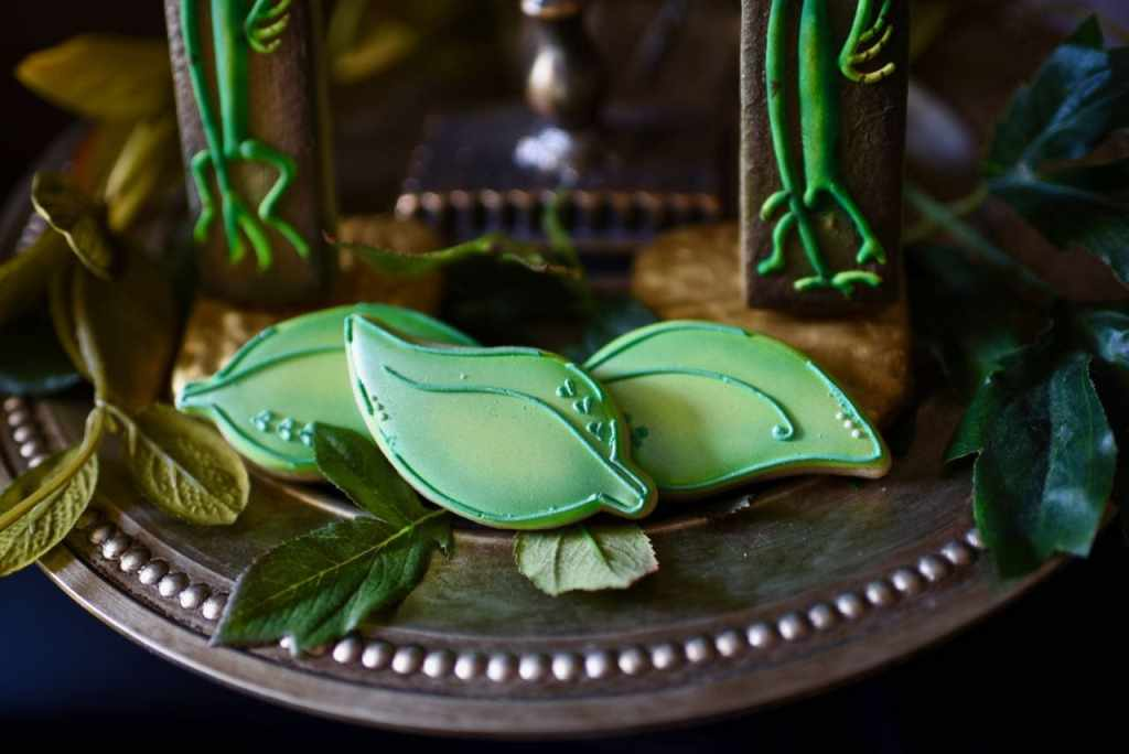 Bowtruckle and leaf cookies at Fantastic Beasts and Where to FInd Them party