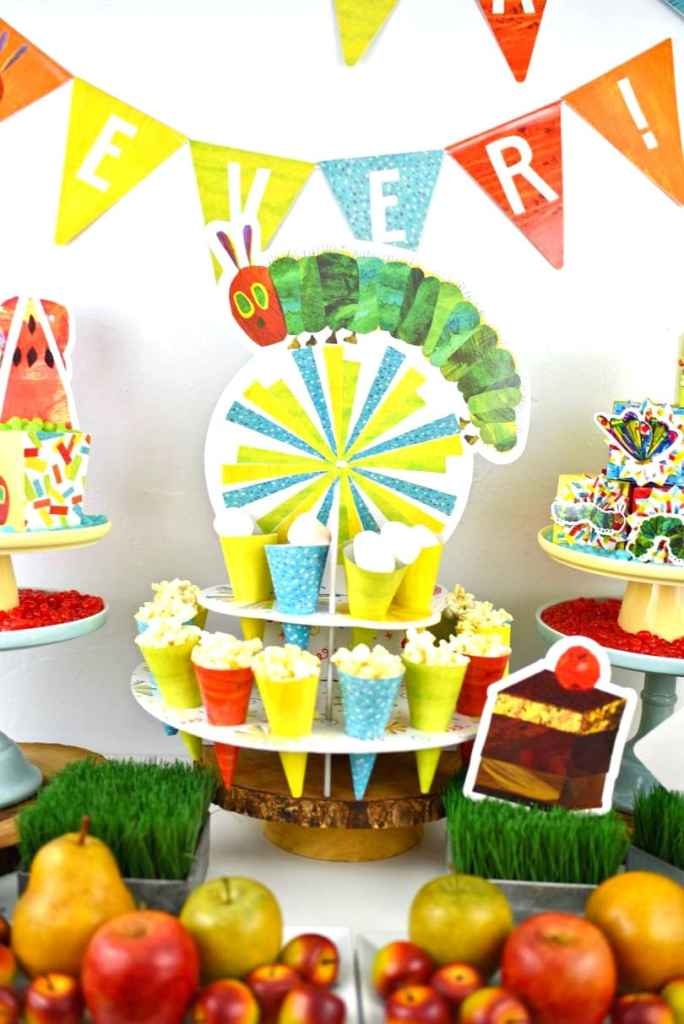 The Very Hungry Caterpillar party ideas with lots of cute kids party details.