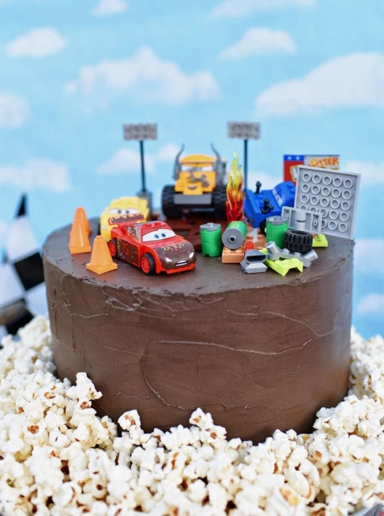 Disney Cars 3 party cake with Disney Cars 3 LEGO set cake topper