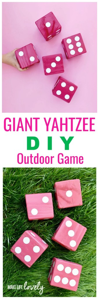 Giant Yahtzee DIY Outdoor Game, perfect for summer parties!