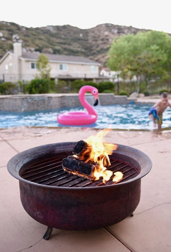 Summer night pool party with pool floats