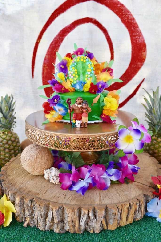 Moana birthday party cake