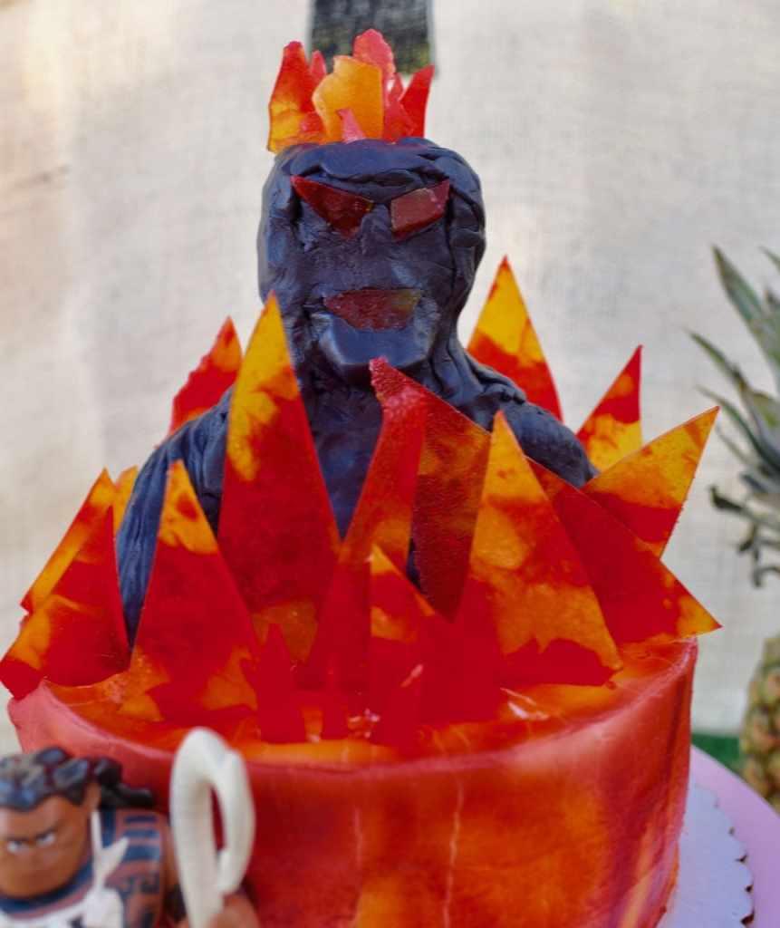 Moana cake with Te Ka and lava fire