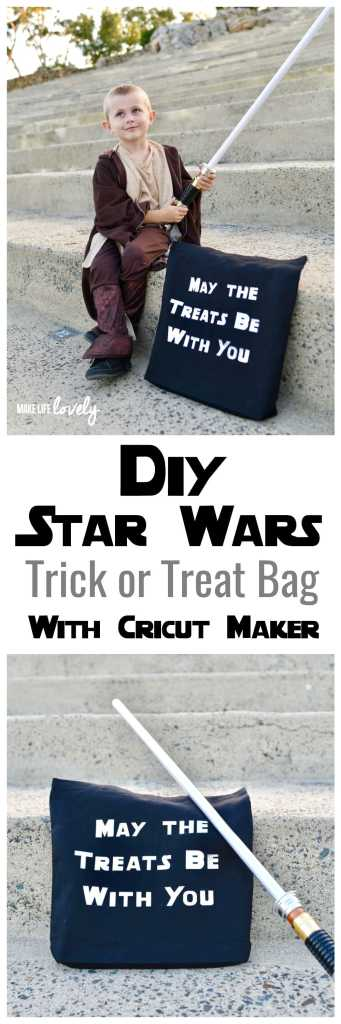 DIY Star Wars Halloween trick or treat bag with the Cricut Maker. Perfect addition to a Star Wars Halloween costume!