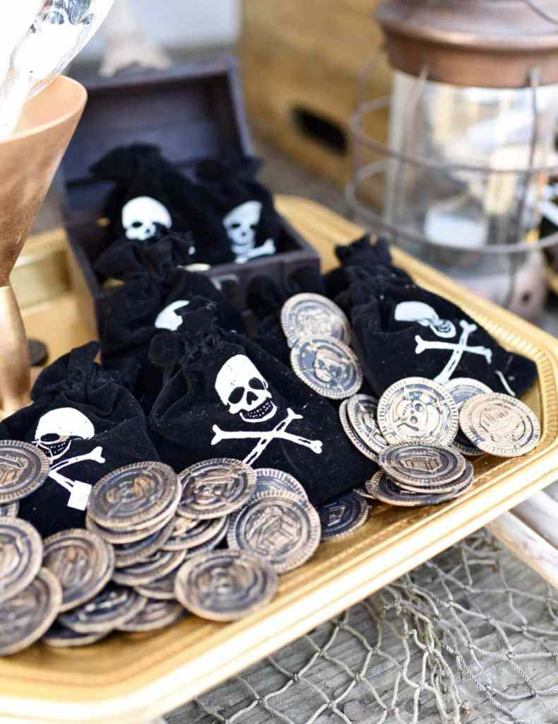 Goonies party pirate coins and treasure bags