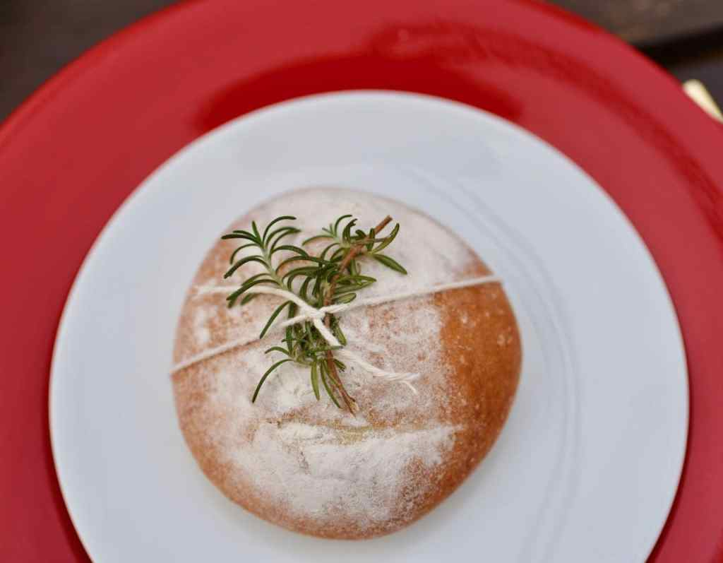 Bread with rosemary on it for holiday dinner party