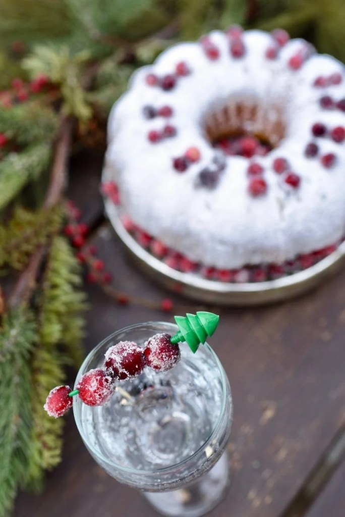 Sugared cranberries drink garnish with orange cranberry bundt cake