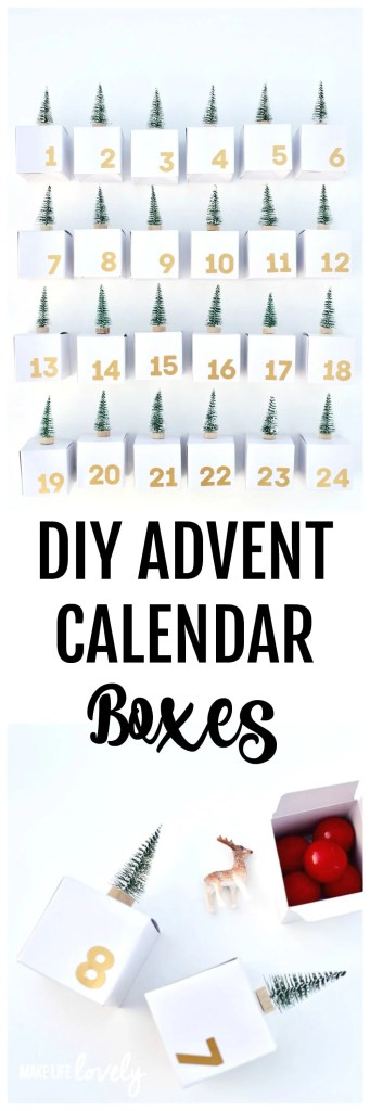 DIY Advent calendar boxes. Create these darling advent calendar boxes with mini bottlebrush trees and start a fun Christmas tradition with your family!