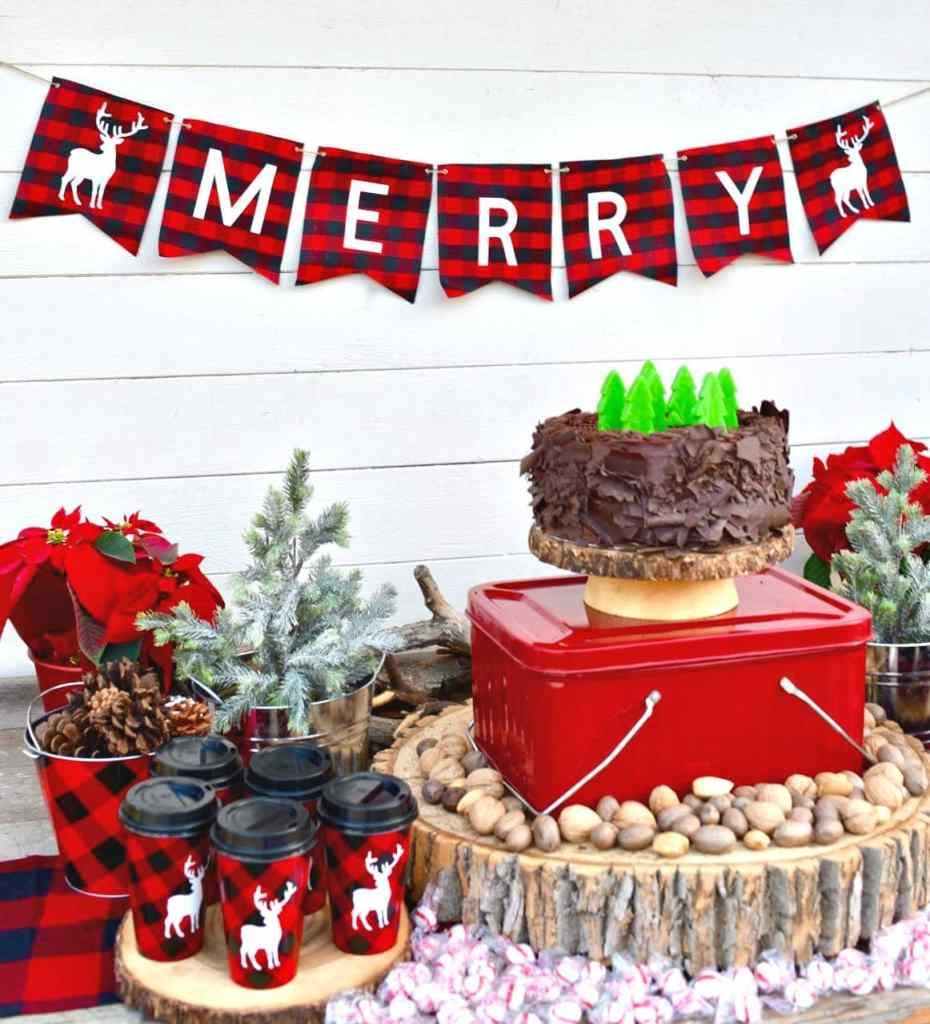 Holiday buffalo plaid party