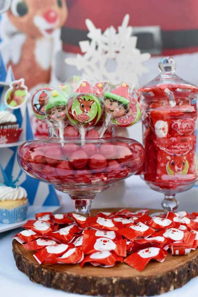Rudolph the Red-Nosed Reindeer party dessert table treats