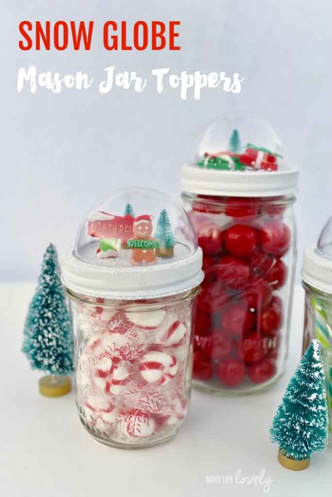 Snow globe mason jars toppers tutorial. These darling snow globe mason jar toppers are so cute and easy to make! They make a great gift too!